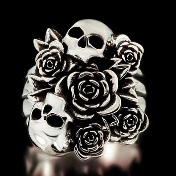 Gothic Silver Punk Ring Skull Rose Jewelry