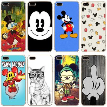 G481 Cartoon Lovers Mickey Mouse Transparent Hard Thin Case Cover For Apple iPhone XR XS Max 4 4S 5 5S SE 5C 6 6S 7 8 X Plus