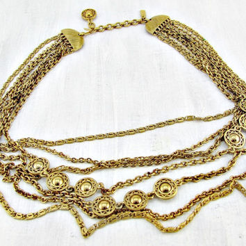 Vintage MONET Gold Layered Necklace, Gold Bib Necklace, Multi-Strand Chain Necklace, 1950's High End Designer Costume Jewelry, Gift for Her