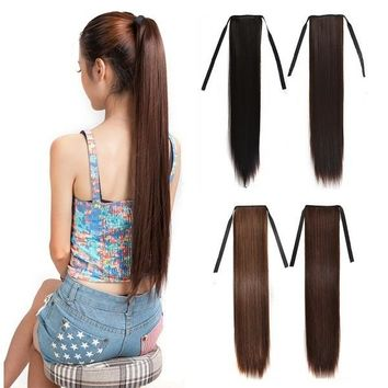 45cm 60cm 70cm Women's Wig Matte Silk Long Straight Hair Ponytails Girls Seamless Hair Extension Hair Rope Headdress