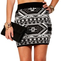 Black/Ivory Tribal Bodycon Skirt