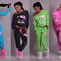 Hello Kitty  Velvet Sweatshirts 2pcs/Sets Hoodies Pullover Tracksuits Sweatshirt and Pants