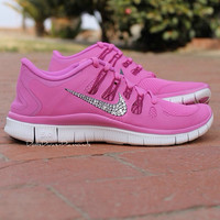 Nike Free Run 5.0 V4 Shoes - Pink - Leopard Cheetah Design - Encrusted with Swarovski Elements Crystals