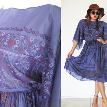 Vintage 70's purple violet hippie bohemian boho sheer floral flower print handkerchief kimono sleeves summer dress