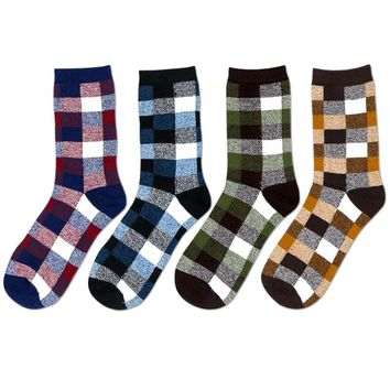2 Pair Men's Sock Spring Autumn Winter Cotton Shaping Male Short Socks Korean Classic Fashion Plaid Casual Tube Sock Best Gifts