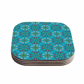 "Mayacoa Studio ""Morrocan Tile In Blue"" Geometric Floral Coasters (Set of 4)"
