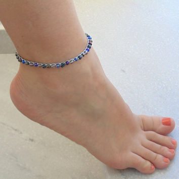 Beaded Ankle Bracelet, Foot Jewelry, beach jewelry, beachwear, boho beaded anklet