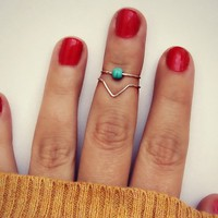 sterling silver knuckle rings with turquoise bead, midi rings, sterlin
