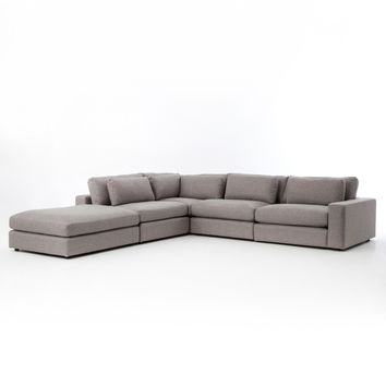 BLOOM 3 PIECE  SECTIONAL WITH OTTOMAN - CHESS PEWTER