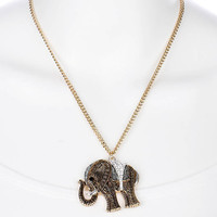 NECKLACE / TWO TONE METAL / ELEPHANT PENDANT / ETCHED / PAVE CRYSTAL STONE / LINK / CURB CHAIN / 18 INCH LONG / 1 3/4 INCH DROP / NICKLE AND LEAD COMPLIANT