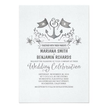 Nautical anchor grey ink wedding invitations