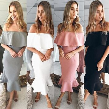 Elegant Women Off The Shoulder Ruffle Party Bodycon Mermaid Midi Dress Women Slash Neck Solid Dresses Clothing