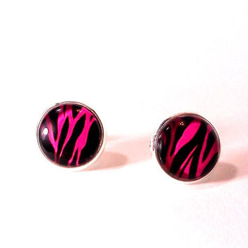 Zebra Earrings, Glass Earrings, Zebra, Zebra Jewelry, Zebra Print, Neon Pink, Glass Jewelry, Nickle Free Earrings, Black Earrings