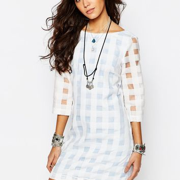 Reclaimed Vintage X Liquid Lunch Sheer Gingham Check Shift Dress