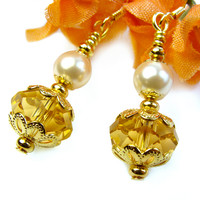 Topaz Crystal Pearl Earrings Short Dangles Dressy Handmade Jewelry