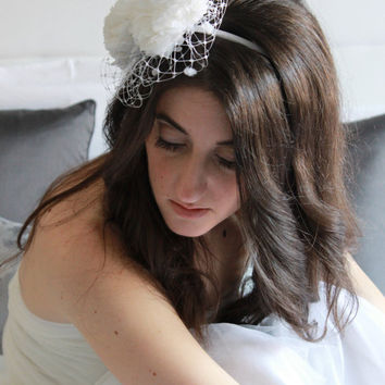 Bridal headband, bridal headdress, bridal headpiece with two flowers and veil