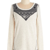 ModCloth Mid-length Long Sleeve Know the Slopes Top