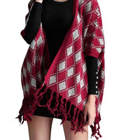 Red Grid Printed Knit Tassel Cardigan