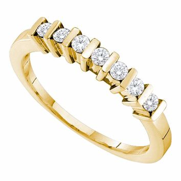 10kt Yellow Gold Womens Round Channel-set Diamond Single Row Ring 1/5 Cttw