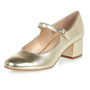 Gold heel Mary Jane shoes - pumps - shoes / boots - women