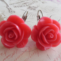Hot pink rose earrings, carved coral earrings, flower earrings, dangle earrings, bridesmaid jewellery, italian jewels Sofia's Bijoux