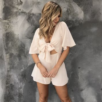 Feel The Breeze Satin Romper in Cream