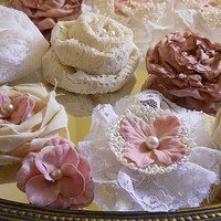 "40 Handmade Fabric Flowers for weddings, bouquet making, wedding decor, scrapbooking, gifts, crafts, pink and rose accents ""READY TO SHIP"""