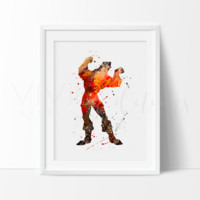 Gaston, Beauty and the Beast Watercolor Art Print