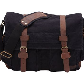 "Men's Shoulder Bag, Berchirly Vintage Military Men Canvas Messenger Bag for 13.3-17.3"" Inch-Back to School"