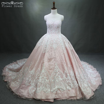Luxury Wedding Dresses long Tail Appliques Beaded See through Back Wedding Dress