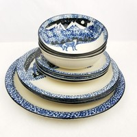Folk Craft Wolf by Tienshan 10 Piece Set Place Dinner Salad Plate Bowls Platter