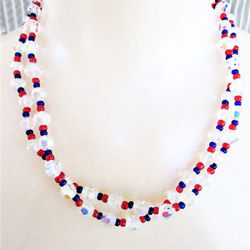 "Red White Blue Crystal Necklace Aurora Borealis 38"" Long Patriotic 1970s Multi Color Single Strand Necklace Vintage Jewelry Gift"