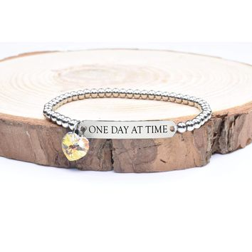 Beaded Inspirational Bracelet With Crystals From Swarovski By Pink Box - One Day At A Time