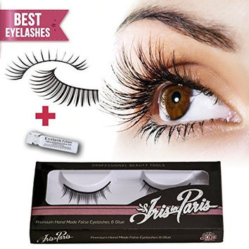 Professional False Eyelashes with Glue Set By Iris in Paris ★ Thin and Natural ★ Perfect for Beginners ★ Reusable ★ Great for Contact Lens Wearers ★ Kim Kardashian's Choice Natural Fake Eyelashes
