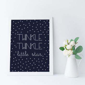 Twinkle Twinkle Little Star Quote, song lyrics art, nursery printable, nursery quote, lullaby lyrics, kids wall art printable stars print