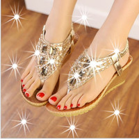Casual Fashion Women Sandal Thick heels Shoes beaded flip-flops