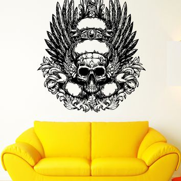 Wall Decal Skull Skeleton Zombie Monster Wings Bird Mural Vinyl Decal Unique Gift (ed337)
