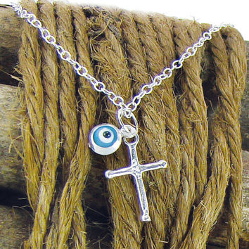 Silver Cross Necklace, Evil Eye Pendant Necklace, Light Blue Pendant, Greek Mati,
