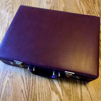 Oxblood Brown Briefcase With Combination Lock Locking Case Hard Side Firm Sided