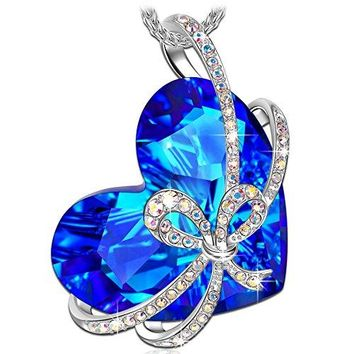 """Qianse """"Heart of the Ocean"""" Bowtie Pendant Necklace Made with SWAROVSKI Crystal"""