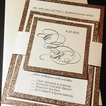 Rose Gold Glitter Wedding Invitation - CAITLIN VERSION