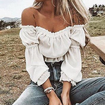 Chiffon Blouse Shirt Off Shoulder Crop Top Long Sleeve Blouses
