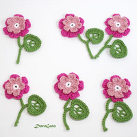 Crochet Flowers with twig, crochet flowers with leaves and stem, crochet two layers flower, Crochet appliques (Set of 3)