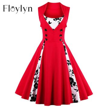Floylyn Women's Elegant Vintage-Like 50s 60s Style Dresses.  Colors:  Red with Black and White Design, Red and Black, Light Blue and Black, Green and Black, Orange and Black and Red Wine and Black.   Sizes From Small to 5XL.   ***FREE SHIPPING***