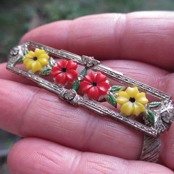 Carved Coral Celluloid Flower Rhinestone Bar Brooch Art Deco 1930s Vintage Jewelry