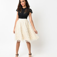 Retro Cream Polka Dot Flocked High Waist Circle Skirt