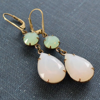 Mint Opal Rhinestone Estate Earrings, Pear Stone Antiqued Brass, Lever Back Earrings, Vintage Rhinestone, Bridesmaid Earrings