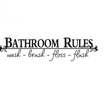 Bathroom Rules Home Decoration Creative Quote Wall Decal
