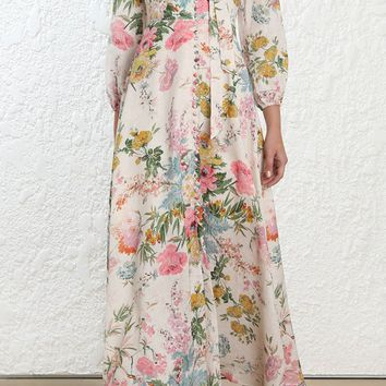 You Don't Own Me Cream Pink Floral Pattern 3/4 Lantern Sleeve V Neck Tie Neck Button Casual A Line Maxi Dress