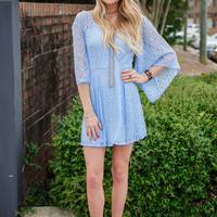Lighten Up Your Day Blue Lace Dress - Ellie Clothing